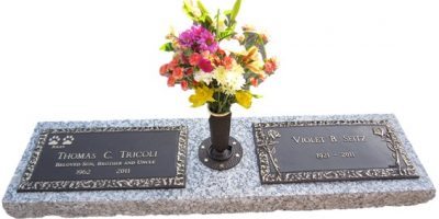 Bronze companion grave marker with granite and vase