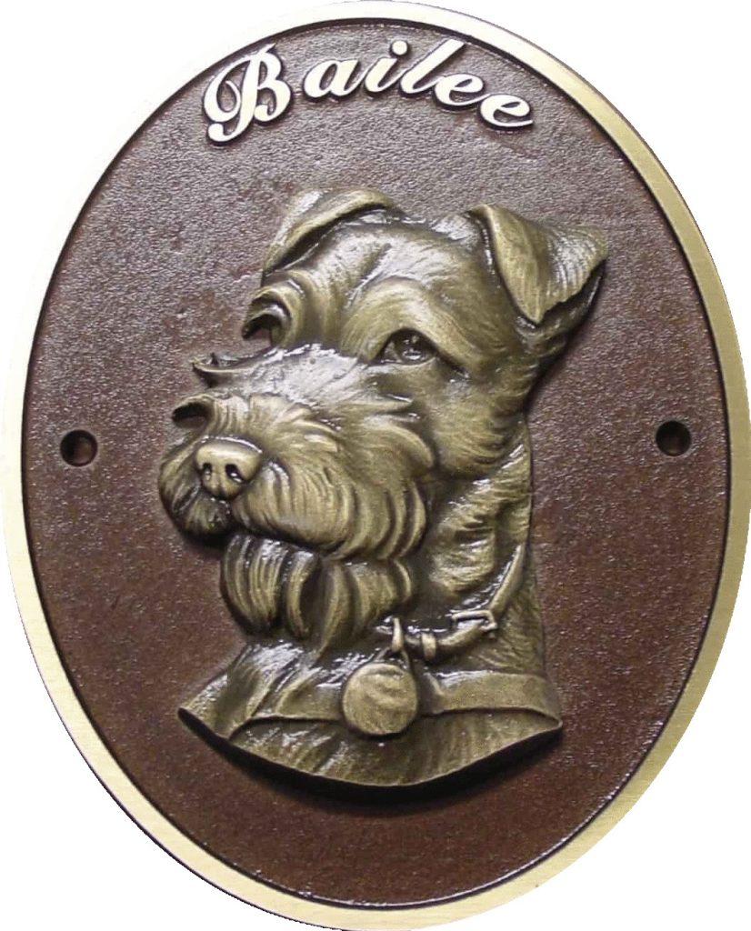bronze dog memorial plaque