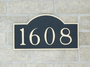 aged bronze address plaque