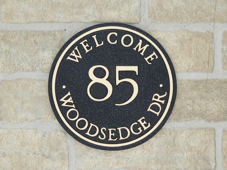 bronze front door plaque with address