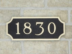 bronze house number plaque