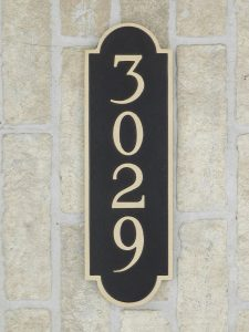 bronze house plaque with address