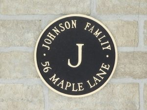 personalized bronze home plaque with family name and address