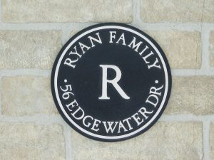 personalized bronze house plaque with family name and address