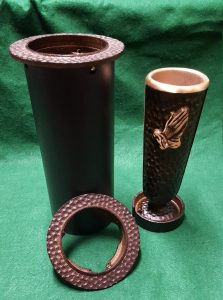 bronze cemetery vase with praying hands