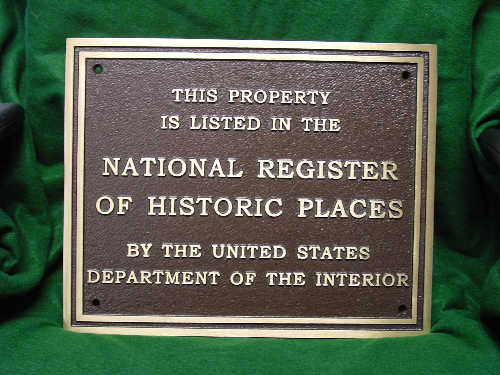 Bronze National Register Plaque